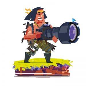 Un photographe armé d'un très gros appareil photo débarque comme Rambo.